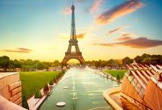 Eiffel Tower at sunrise, Paris, France Stock Photo