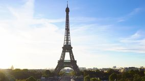 Eiffel tour and from Trocadero, Paris. Eiffel Tower at sunrise with Paris skyline, France stock video footage