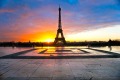 Eiffel tower at sunrise, Paris. Royalty Free Stock Photography