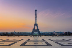 The Eiffel Tower during the Sunrise royalty free stock image