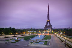 Eiffel Tower in sunrise at Trocadero, Paris. Eiffel Tower in sunrise at wonderful Trocadero, Paris royalty free stock image
