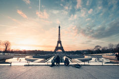 Eiffel tower at sunrise Stock Photos