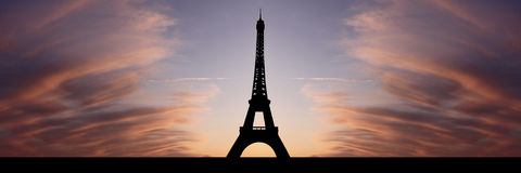 Eiffel tower at sunset Stock Photo