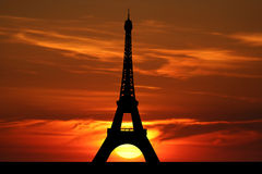 Eiffel tower at sunset Stock Images