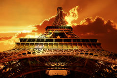 Eiffel tower sunset royalty free stock images