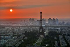 Eiffel Tower at sunset Stock Image