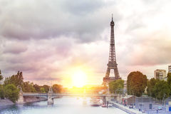 Eiffel tower sunset. Stock Images