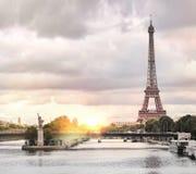 Eiffel tower sunset. Stock Photo