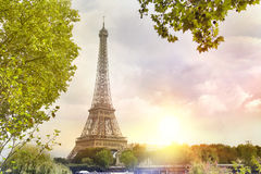 Eiffel tower sunset. Royalty Free Stock Photography