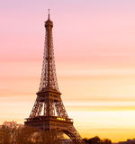 Eiffel Tower at Sunset with copy space Stock Images