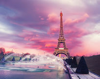 Eiffel tower on a sunset half-lit with last rays of the setting Stock Photography