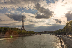 Eiffel tower at sunset. Royalty Free Stock Photography