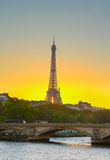 Eiffel tower at sunset, Paris Stock Images
