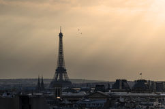 Eiffel tower with sunset Stock Photos