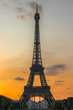 Eiffel Tower during sunset, Paris, France Royalty Free Stock Images