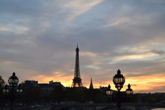 Eiffel Tower and Sunset in Paris Royalty Free Stock Photo