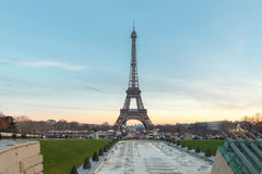 Eiffel Tower at sunset. Stock Photos