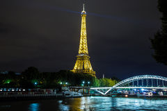 Eiffel Tower at sunset in Paris Stock Photo