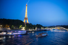 Eiffel Tower at sunset in Paris, France. Romantic travel background. stock images