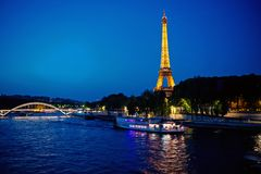 Eiffel Tower at sunset in Paris, France. Romantic travel background. stock image