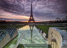 Eiffel Tower Sunset. Sunset in Paris overlooking the Trocadero Fountains and the Eiffel Tower Royalty Free Stock Photos