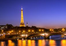 Eiffel Tower at After Sunset Timing royalty free stock image