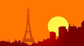 Eiffel tower at sunset-vector Royalty Free Stock Photos