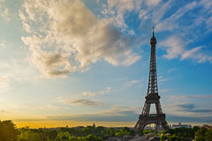 Eiffel Tower at sunshine. Stock Photo