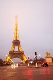 Eiffel tower surroundings  in evening fog. Royalty Free Stock Photos