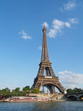 Eiffel tower and taxi boats, Paris Royalty Free Stock Images