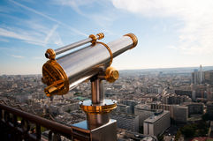 Eiffel Tower telescope overlooking for Paris. Stock Photos