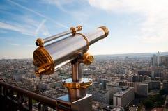 Eiffel Tower telescope overlooking for Paris. Stock Photos