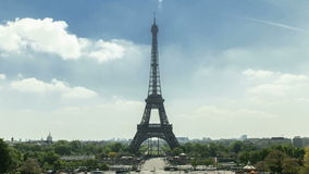 Eiffel tower timelapse in 4K UHD. Eiffel tower in Paris seen from Trocadero. It is a lovely summer afternoon. Afternoon. This footage is in 4K UHD stock video footage
