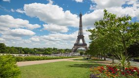 Eiffel Tower Timelapse Video over the Seine river. PARIS, FRANCE - JUNE 05, 2017: Eiffel Tower timelapse video from the park near Trocadero Place stock video