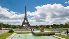 Eiffel Tower Timelapse Video over the Seine river. PARIS, FRANCE - JUNE 05, 2017: Eiffel Tower timelapse video from Trocadero Place stock video