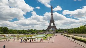 Eiffel Tower Timelapse Video over the Seine river. PARIS, FRANCE - JUNE 05, 2017: Eiffel Tower timelapse video from Trocadero Place stock video footage