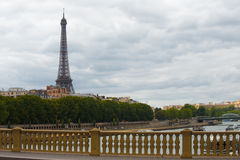 Eiffel Tower Top Bridge Seine Stock Photo