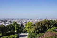 Eiffel Tower and Tour Montparnasse from the Parc de Belleville,. View of great landmarks of Paris from the Parc de Belleville Stock Photo