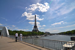 Eiffel tower tourist attraction. Shot of Eiffel Tower in Paris in the summer Royalty Free Stock Images