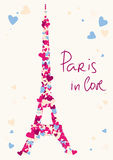 Eiffel Tower tower from hearts. Vector card Royalty Free Stock Image