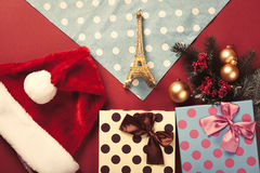 Eiffel tower toy and christmas gifts Royalty Free Stock Photos