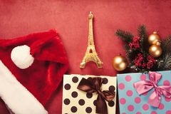 Eiffel tower toy and christmas gifts Royalty Free Stock Photo