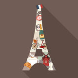 Eiffel Tower. Travel Paris theme  illustration Stock Images