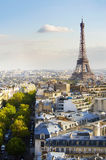 The Eiffel Tower. A tree lined Parisian boulevard leads to the Eiffel Tower in warm afternoon light Royalty Free Stock Images