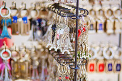 Eiffel tower trinkets in Paris, France Stock Photos