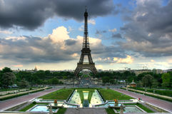 Eiffel tower from Trocadero. Eiffel tower over stormy seen from Trocadero terrace. HDR image Stock Image