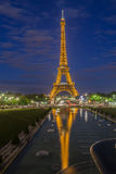 The Eiffel Tower Trocadero Fountain Paris Night Royalty Free Stock Photos