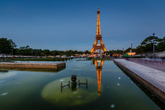 Eiffel Tower and Trocadero Fountains in the Evening, Paris, Fran Stock Images