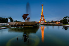 Eiffel Tower and Trocadero Fountains in the Evening, Paris, Fran Stock Photo