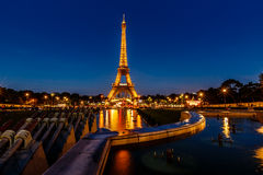 Eiffel Tower and Trocadero Fountains in the Evening, Paris, Fran Stock Photos